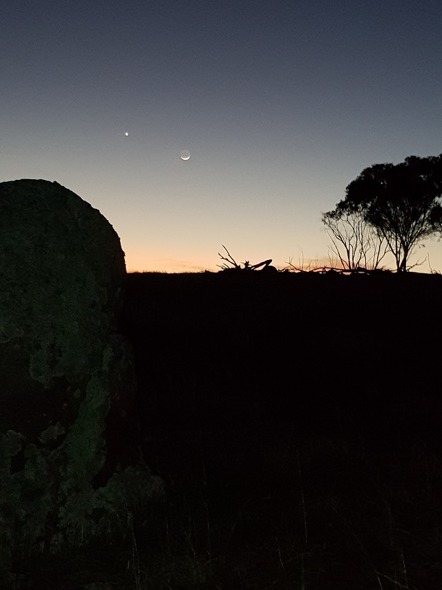 Kenine Hill Classic sunrise with moon and venus and rock